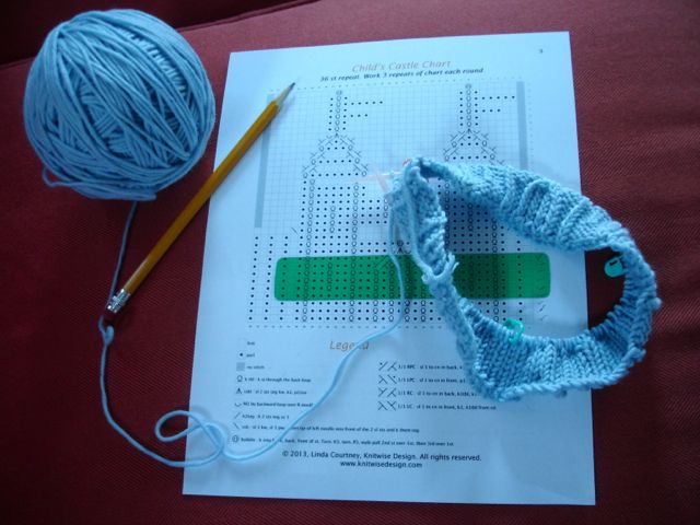 Knitting the Child size Sample for the Castle Hat.