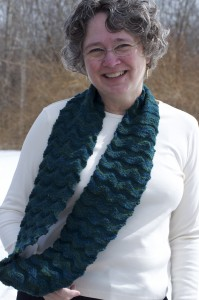 Welted waves cowl, by Knitwise Design, worn long