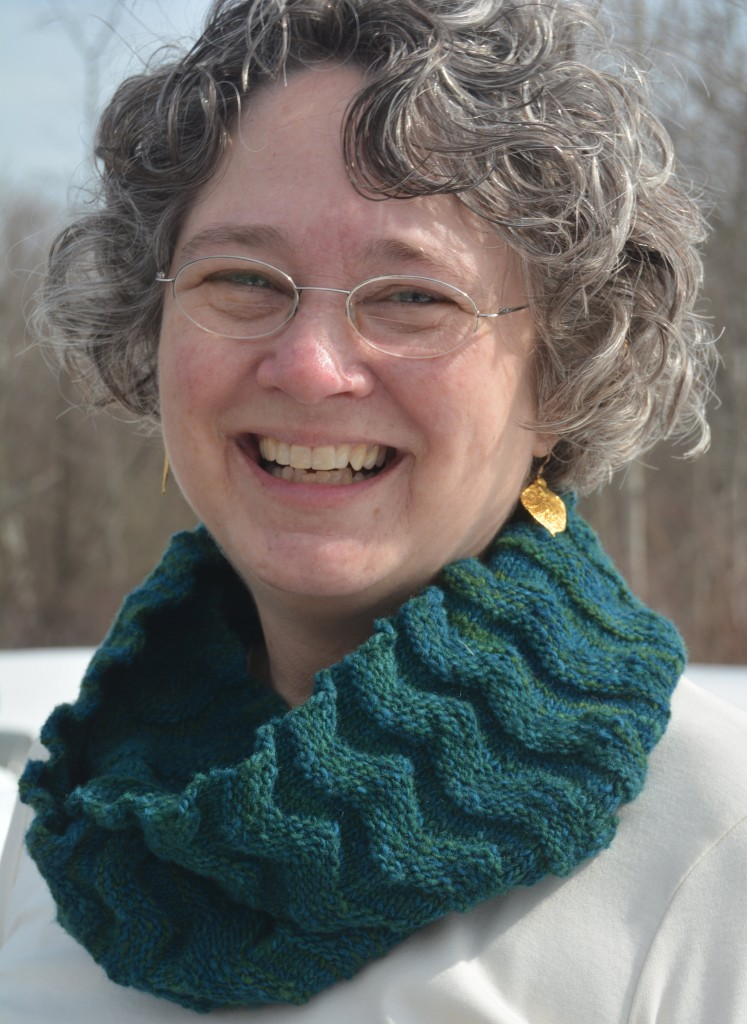 Welted Waves cowl, by Knitwise design, worn double looped