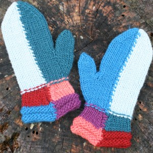 Patchwork Mittens in Six Different Colors.